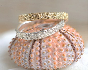 14k Gold Thin Coral Band   14k Yellow Gold, 14k Rose Gold or 14k White Gold   Stacking Ring   Nature Inspired Ring