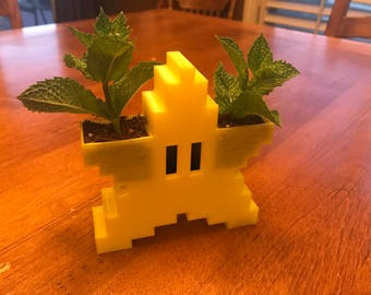 Super Mario Power Star Dual Sided Planter - 3D Printed -Video Games - Yellow