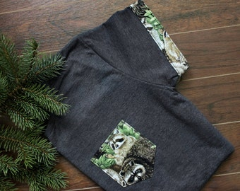 1 left SALE Raccoon Women T-Shirt Pocket & Sleeves