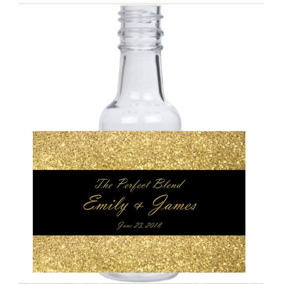 12 personalized Gold & Black glitter mini liquor bottles, caps, and labels for your wedding, engagement, or event party