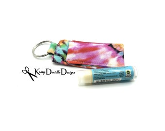 Tie Dye Lip Balm Keychain / Tie-Dye Lip Balm Cozy / Colorful Lip Gloss Keychains / Spring Chapstick Key chain Holder / Summer / Hippie Gift