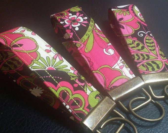 Key Chains-Key Rings-Key Fobs-Pink Mod Squad Fabric
