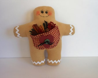 Gingerbread Man, Gingerbread Doll, Stuffed Pocket, Kitchen Decor, Holiday Decor