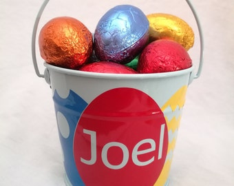 Personalised Easter Bucket with 3 Coloured Egg Design,  Easter Bunny Bucket, Easter Gift, Gift Baskets, Easter, Metal Bucket