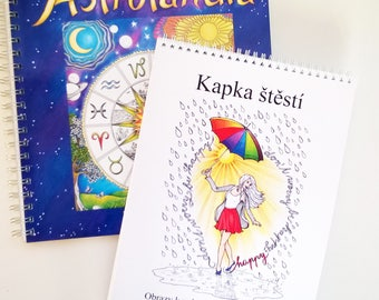 Set of two Coloring Books ASTROLANDIA and Drop of happiness, Adult Coloring Book, Art Therapy, High quality artist print