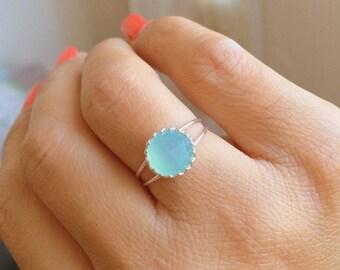 Mother Day Sale - Aqua ring - Aqua chalcedony ring - Aqua blue Chalcedony ring -MINT ring - Light Blue Silver Ring -Gemstone ring