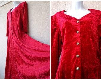 1990s MAXI DRESS. Crushed Velvet Dress. 90s Maxidress. Romantic Dress. Long Dress. Boho Dress. Gypsy Dress. Red Dress. Corset Lacing. L XLL