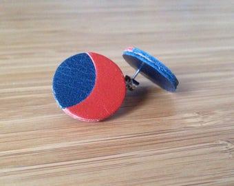 Luna leather earrings blue and rust/orange
