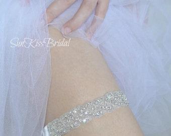 Crystal Bridal Garter, Sparkly Wedding Garter with Rhinestones, Braided Silver Garter, Keepsake Garter BRIANNA
