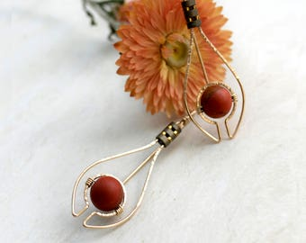 Deco Style Gold Fill Drop Earrings with Red Jasper and Hematite