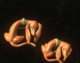 Dachshund Enameled Pins Mom and Baby