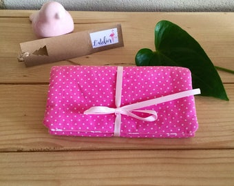 """""""Peas and pink whales"""" cotton jewelry pouch."""