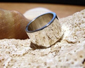 11mm Wedding Band Flat Sterling Silver Band RF025