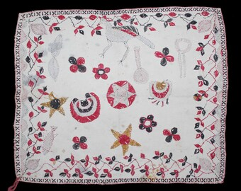 Kantha Quilt Coverlet Embroidery with cotton thread From East Bengal(Bangladesh)Region India.