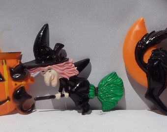 Halloween Plastic Cake Toppers Vintage 1960's