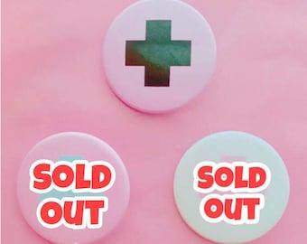 Menhera Nurse Cross Badge Buttons - 3 Colorways