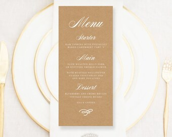 Personalised Printable Wedding Menu Card, Emily Collection - WC32