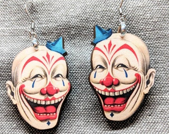 Creepy Clown Earrings / Circus Earrings / Painted Face / Clown Face Earrings / Hypoallergenic / Stainless Steel / Creepy Horror Earrings