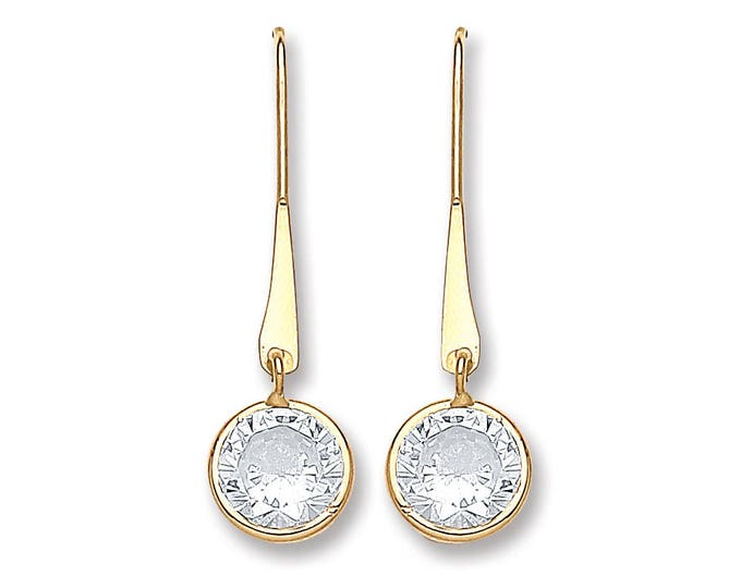 9ct Gold 20mm Drop Earrings With Round Cubic Zirconia Solitaire Stones