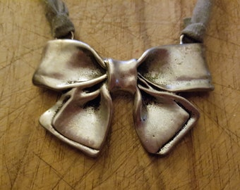 Silvertone Large Bow Statement Necklace