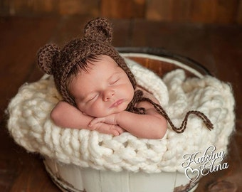 Newborn Bear Bonnet/ Baby Bear Bonnet/ Crochet Bear Bonnet/ Brown Bear Bonnet/ Newborn Photo Prop/ Baby Boy Hat/ Baby Girl Hat
