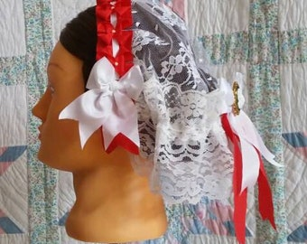 Red and White Trimmed White Lace Fanchon Styled Day Cap