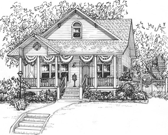 Line Drawing Of Your House : Custom ink house drawing portrait of your