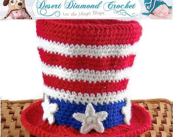 Crochet Pattern 082 - Stars and Stripes Patriotic Top Hat - All Sizes