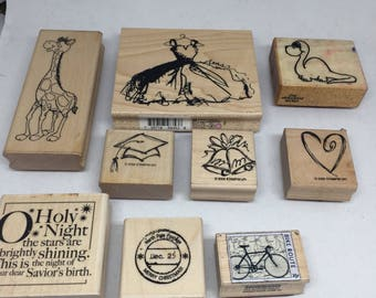 Wooden stamps all holidays, several stamps,   Red rubber stamps on sale