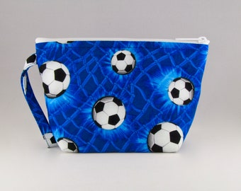 ONLY ONE - Blue Soccer Makeup Bag - Accessory - Cosmetic Bag - Pouch - Toiletry Bag - Gift