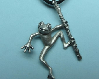 "Silver Frog Necklace On Silicone Rubber Cord ""Froggz Only"" Collection - ""Zeli"""