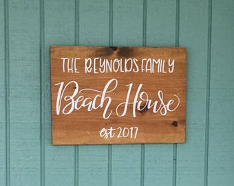 """Custom beach house sign, Customized housewarming sign, Last Name beach house sign 16"""" x 11.25"""""""