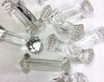 10 Antique French Glass Knife Rests. Mismatched Set of Chateau Chic French Tableware Glass Cutlery Rests. Vintage French Shabby Chic