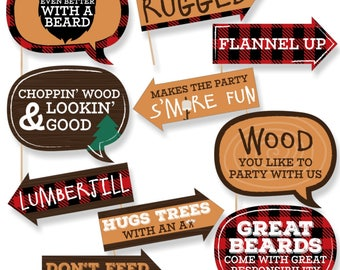 Funny Lumberjack Photo Booth Props - Channel The Flannel - Photobooth Prop Kit Props - Outdoor Mountain - 10 Pc Buffalo Plaid Props & Dowels