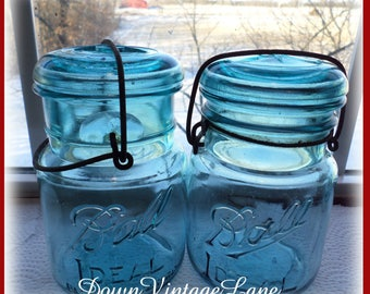 2 Blue Ball PINT Sized Jars with Wire Handles and Glass Lids
