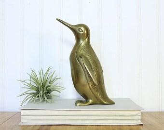 Brass Penguin, Vintage Penguin Figurine, Gifts for Bird Lovers, Water Snow Birds, Zoo Wild Brass Animals, Home Accents, Wedding Decor