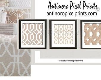 Art Damask Khaki Tans Prints, Set of (3) 18x18 Wall Art Prints, Custom Colors Available (Unframed) #262422005