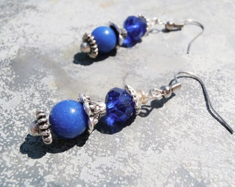 Blue Lapis Earrings, Lapis Lazuli Earring, Lapis Drop Earrings, Silver Lapis Earring, Lapis Dangle Earring, Lapis Dangle, Lapis Lazuli Drop