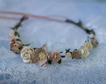 Flower crown, Bridal flower crown, Coffee Ivory Floral crown, Wedding flower crown, Bridal floral crown, Leaf flower crown, Woodland Wedding