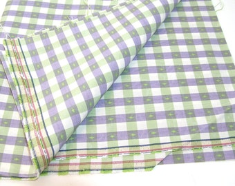 Lavender and Green Check Upholstery Fabric 2/3 Yard