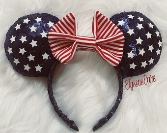 4th of July, Patriotic, Red White Blue Mickey Minnie Mouse Ears Headband, Disney, Accessories, USA