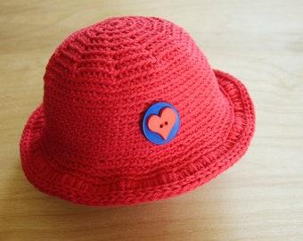 Baby Sunhat, Red Sun Hat, Cotton Beach Hat, 1 to 3 Months Baby Boy Red Hat, Red Baby Hat, Red Sunhat, Infant Boy Hat, Baby Gift, Photo Prop