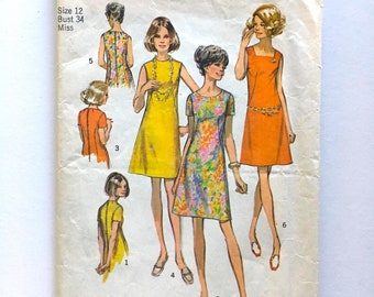 Vintage Sewing Pattern, Women's 1970's Simplicity 8882, Dress, Three Versions (S)