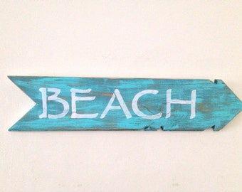 Rustic Wall Decor - BEACH Sign Made out of Reclaimed Tongue and Groove Wood