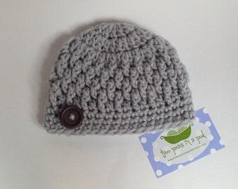 Baby Hat - Crochet Baby Hat - Crochet Hat - Photo Prop - Gray Baby Hat  - Knit Hat - Knit Baby Hat
