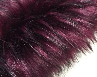BOYSENBERRY - Rich tufted and tipped faux fur- Full Metre piece (140 X 100)