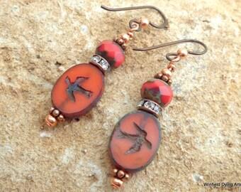 Red Czech Glass Bird Earrings Boho Chic