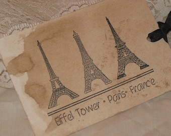 Vintage Paris Eiffel Tower GiftTags Aged with Walnut Stain