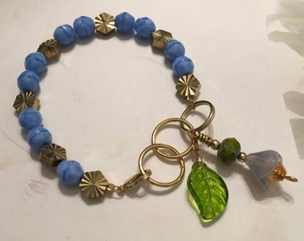 Feminine, Delicate, Handcrafted Bracelet, with Beach Blue Czech Glass, Golden Sunburst Bead, & Crystal Drop