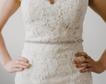 Silver Bridal Belt | Crystal Wedding Sash Belt | Rhinestone Bridal Belt | Wedding Dress Belt | Silver Sash Belt | Silver Stella Belt